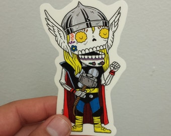 Thor Calavera Clear Die-cut Vinyl Sticker Day of the Dead