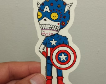Captain America Calavera Die-cut Vinyl Sticker Day of the Dead