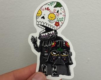 Unmasked Vader Calavera Die Cut Vinyl Sticker