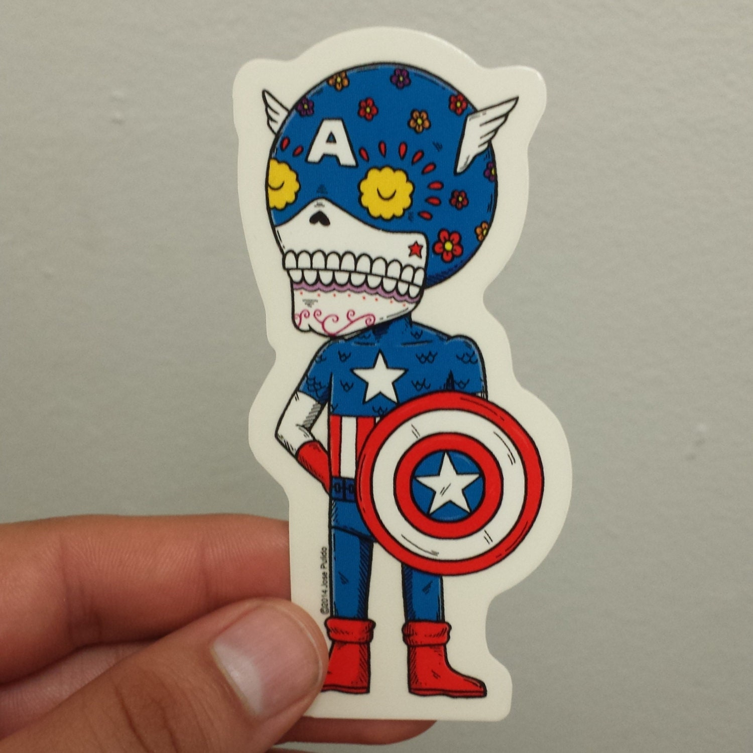 Captain America Calavera Die cut Vinyl Sticker Day of the Dead