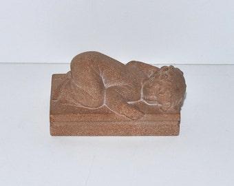 Vintage Just Andersen Denmark Sandstone Sculpture, Sleeping Child