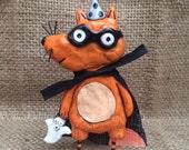 Red fox masked marauder Halloween folk art Sculpture Ready to Ship