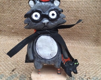 Raccoon masked marauder Halloween folk art Sculpture Ready to Ship