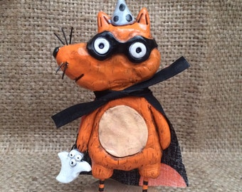 Red fox masked marauder Halloween folk art Sculpture Ready to Ship
