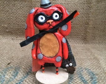 Orange masked polka dot bunny marauder Halloween folk art Sculpture Ready to Ship