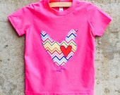 Girls or Boys Shirt - Rainbow Chevron Chicken LOVE - Sizes for Toddler and Big Kids - You Choose Tshirt Color - Great for Birthdays