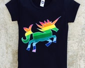 Rainbow Unicorn Appliquéd Kids Shirt or Baby Bodysuit - Great Gift or Birthday Party Outfit - Sizes to Fit Infant, Toddler and Big Kid