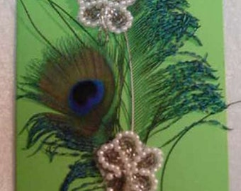 Bright Lime Green Birthday Card with Peacock Feathers, Adorned with Pearl and Seed Beads