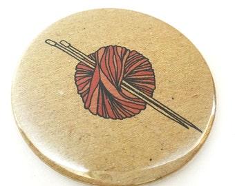 Knitting pocket mirror - ball of wool , yarn , knitting needles - illustrated compact mirror - craft gift