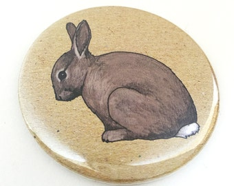 Rabbit pocket mirror- rabbit mirror - compact mirror - animal / wildlife / nature illustration - bunny gift / rabbit gift