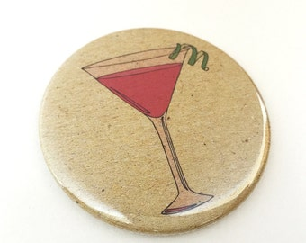 Cosmopolitan cocktail mirror - cocktail pocket mirror - cocktail compact mirror - cocktail illustration / print - cocktail gift
