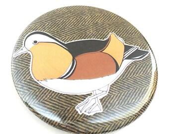 Mandarin duck pocket mirror- bird compact mirror - illustrated mirror - mandarin duck print - nature / wildlife / gift
