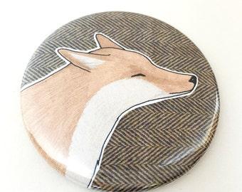 Fox compact mirror - fox pocket mirror - wildlife / animal / nature print gift - tweed - fox mirror - fox gift