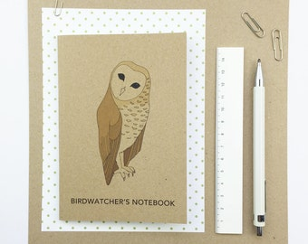 Birdwatcher's pocket notebook with squared paper - recycled / barn owl / bird illustration / eco friendly