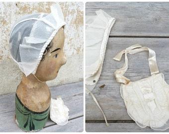 Vintage Antique 1900/1920 s Holy communion French set organdi purse & bonnet