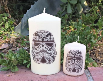 Sugar Skull, Day of the Dead Stormtrooper Pillar Candle Set