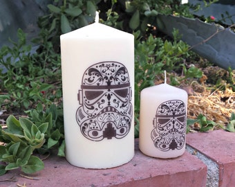 Sugar Skull, Day of the Dead Stormtrooper 3x6 Pillar Candle