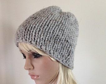 SALE Hand Knit Hat Chunky Beanie - Women's Hat, Men's Hat, Ski Hat - Winter Cap Gray Marble