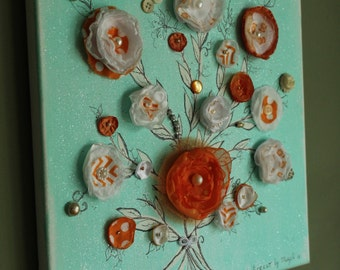 Wall hanging, wall decor, wall art, home decor, housewarming gift, original art, 3d mixed media art, home and living, FREE SHIPPING