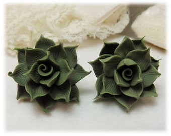 Succulent Earrings Stud or Clip On - Succulent Jewelry