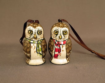 Pair of Little Owl Hanging Ornaments