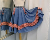 Upcycled Blue Chambray Skirt with Red Gingham and Blue Gingham Accents Repurposed Clothing Square Dance Skirt Full Circle Skirt Size XS