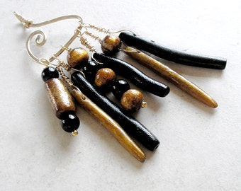 Gold Black Coral Pendant Asymmetrical Avant Garde Jewelry Black Onyx Metaphysical Healing Stones