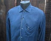 Blue 50s vintage Shirt Piping trim Rayon cotton blend vintage 50s blue shirt M