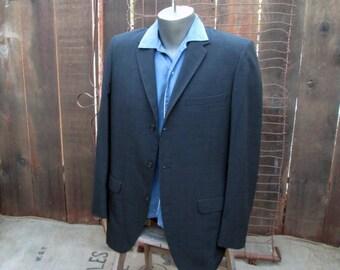 Black 50s Vintage Suit Hollywood waist Pleated slacks 50s suit Summer Black Cuffed Slacks Hart Schaffner Marx 40 41 M Average