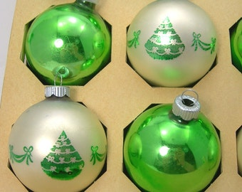 Shiny Brite Christmas Tree Ornaments, Balls, Green and White Mercury Glass, Original Box, Vintage c1960s, Holiday Decoration