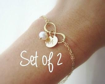 Infinity bracelet, bridesmaid initial bracelet, bridesmaid gift set, 2 two bracelets, bridesmaid jewelry gold initial flower girl bracelet