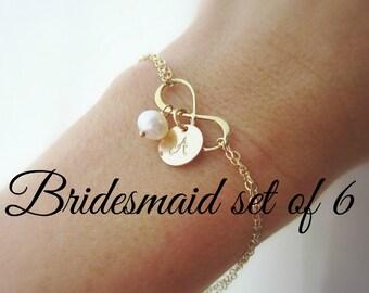 Infinity bracelet, bridesmaid initial bracelet, bridesmaid gift set, 6 six bracelets, bridesmaid jewelry gold initial flower girl bracelet