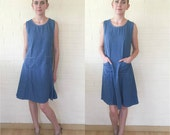 Cute 90s Vintage Medium Denim Blue Jean Day Dress M