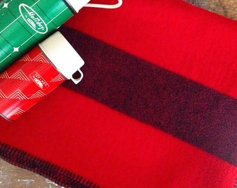 Cabin Cozy... Vintage Red With Black Stripe Wool Stadium Blanket Picnic Blanket Camp Blanket Throw