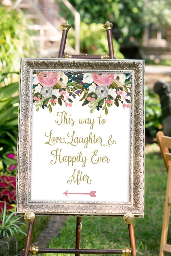 Printable Love Laughter And Happily Ever After Sign Gold