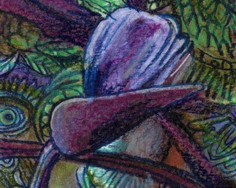 original aceo drawing bird of paradise zentangle design abstract