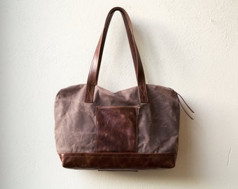 waxed canvas zippered tote - PROPER ZIP TOTE - with leather base - large wax canvas tote - interior zip pocket
