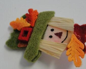 Happy Fall Yall Scarecrow Felt Brooch
