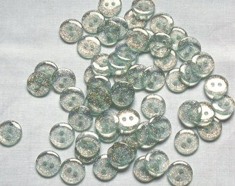 Clear Sparkle buttons,13mm x 7