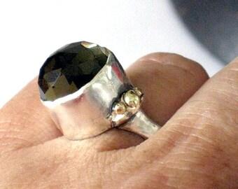 Smoky Quartz Ring, Silver Stone Ring, Silver Gold Ring, Imitation Stone Ring, High Bezel Set Ring, Statement Ring Silver, Silver Gold Ring