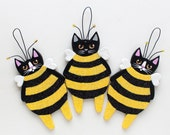 Busy Bee Cat - Original Clay Halloween Folk Art Ornament