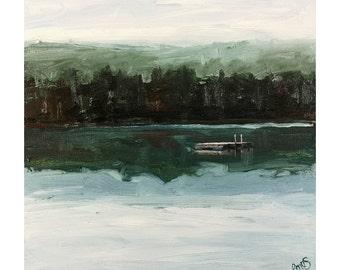 "Misty Morning Lake Raft - Original Oil Painting - Watson Pond, Belgrade Lakes, Maine - 8x8"""