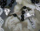 Vintage French Chaplet Rosary, Marked France ... Black Glass Bead Chaplet, Rosary ... religious, cross, crucifix