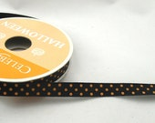 Orange and Black Halloween Polka Dot Ribbon - 1 Yard - DESTASH
