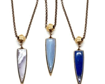Mirage Necklace // Lapis, Dendritic Agate, or Blue Lace Agate