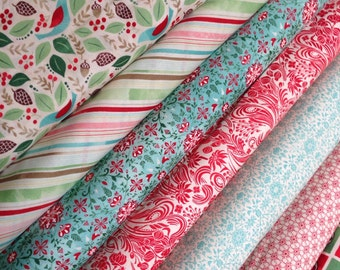 Holiday Fabric, Christmas Fabric by Basic Grey and Fabric Shoppe - Evergreen Fabric Bundle of 7- You Choose the Cut, Free Shipping Available