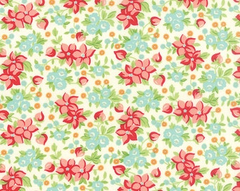 Hello Darling, Quilting Cotton Fabric by Bonnie and Camille, Fabric Shoppe - Floral Wildflower in Cream, Fat Quarter to Yardage