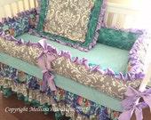 Custom Grey Damask Aqua Rosette Lavender Ruffles Posh with 3 Tier Crib Skirt Luxury Crib Bedding Set CUSTOMIZE