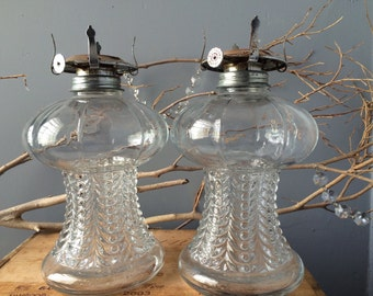 VINTAGE HOME...2 matching glass lamp lights - oil wick farm style - rustic cottage