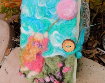 "Felted Wool Journal - ""Following My Balloon"" (diary) Book Cover- Waldorf Inspired Art"